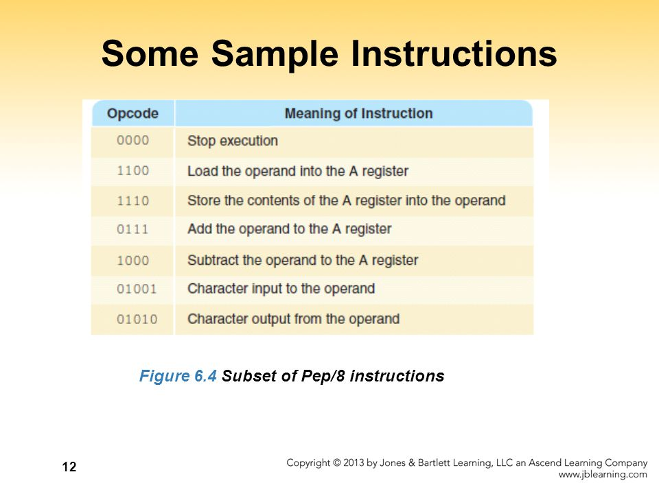 12 Some Sample Instructions Figure 6.4 Subset of Pep/8 instructions
