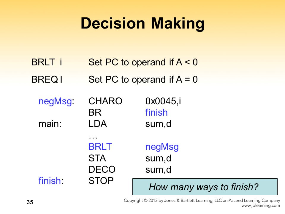 35 Decision Making BRLTiSet PC to operand if A < 0 BREQISet PC to operand if A = 0 negMsg:CHARO0x0045,i BRfinish main:LDAsum,d … BRLTnegMsg STAsum,d D