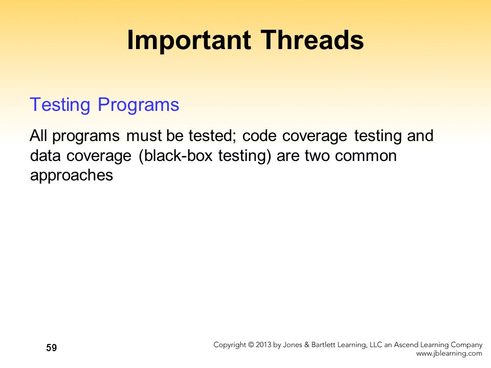 Important Threads Testing Programs All programs must be tested; code coverage testing and data coverage (black-box testing) are two common approaches