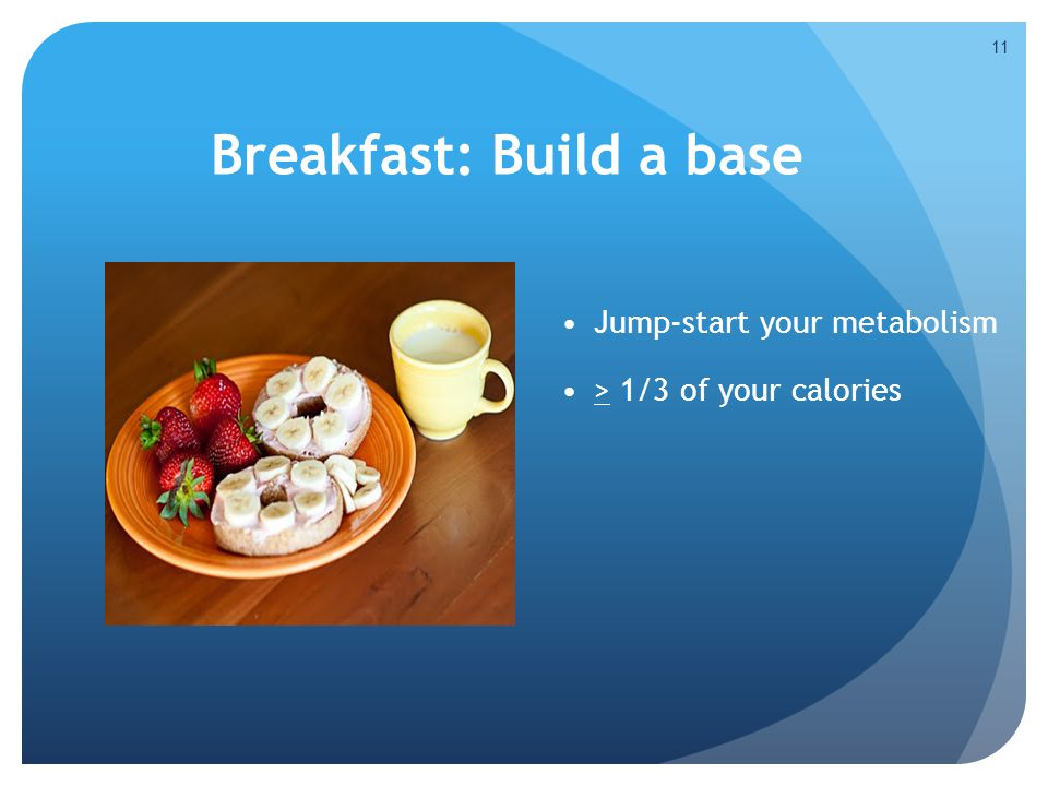 11 Breakfast: Build a base Jump-start your metabolism > 1/3 of your calories