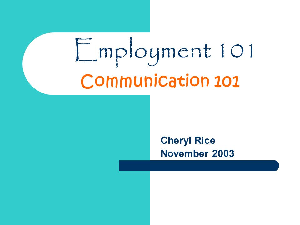 Employment 101 Cheryl Rice November 2003 Communication 101