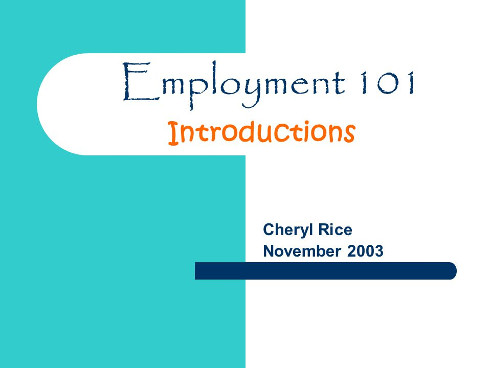 Employment 101 Cheryl Rice November 2003 Introductions