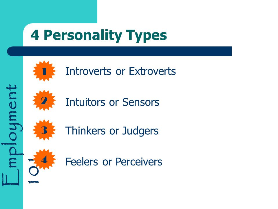 Employment Personality Types Introverts or Extroverts Intuitors or Sensors Thinkers or Judgers Feelers or Perceivers