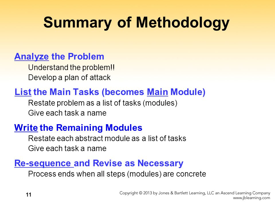 11 Summary of Methodology Analyze the Problem Understand the problem!! Develop a plan of attack List the Main Tasks (becomes Main Module) Restate prob