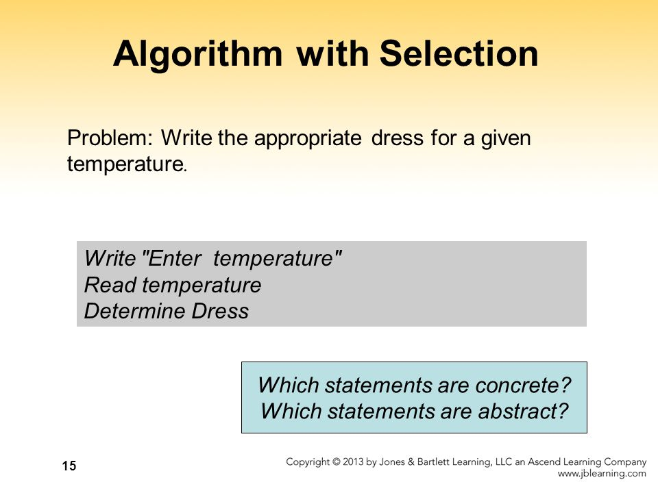15 Algorithm with Selection Problem: Write the appropriate dress for a given temperature. Write