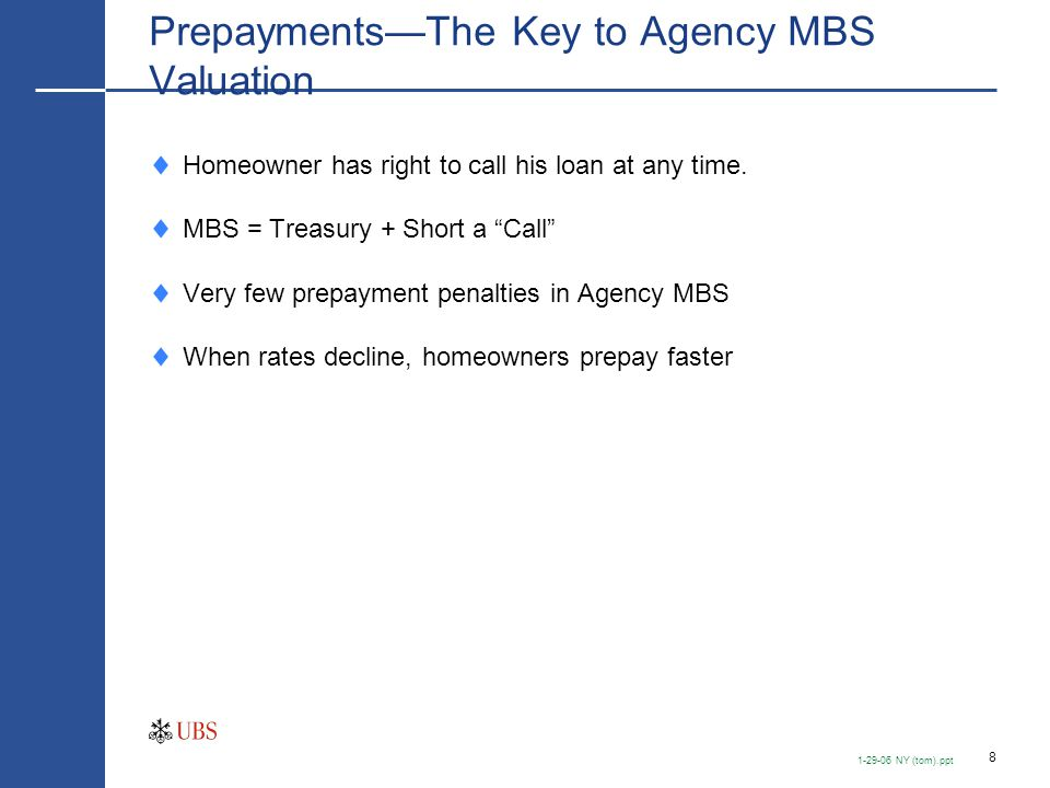 """8 1-29-06 NY (tom).ppt Prepayments—The Key to Agency MBS Valuation  Homeowner has right to call his loan at any time.  MBS = Treasury + Short a """"Cal"""