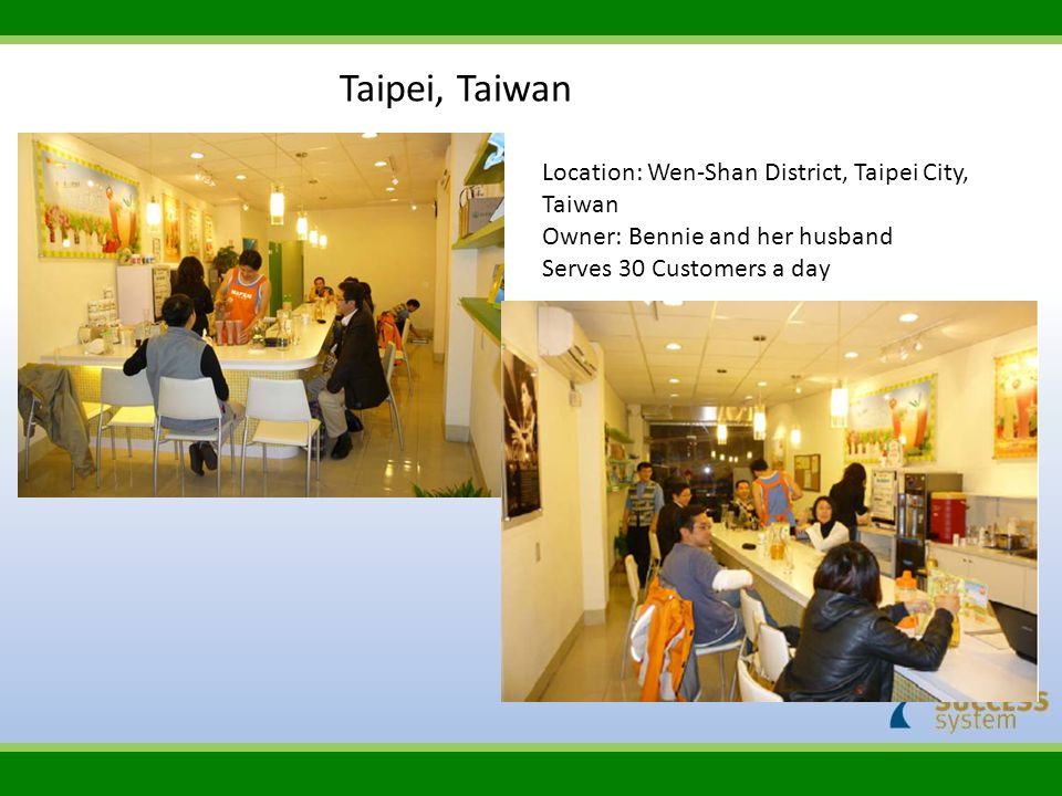 Taipei, Taiwan Location: Wen‐Shan District, Taipei City, Taiwan Owner: Bennie and her husband Serves 30 Customers a day