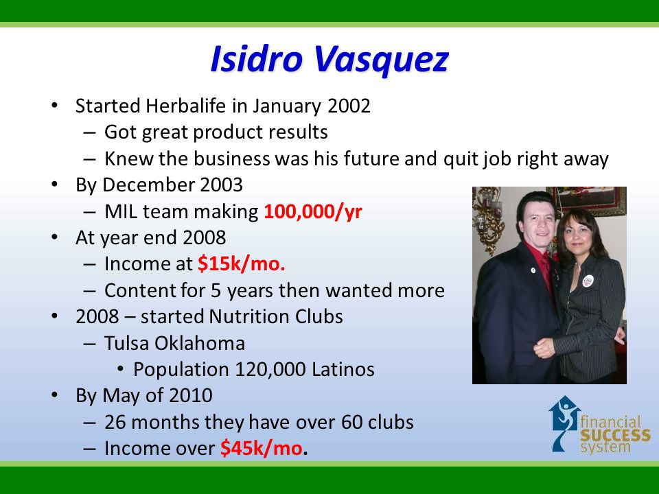 Isidro Vasquez Started Herbalife in January 2002 – Got great product results – Knew the business was his future and quit job right away By December 20