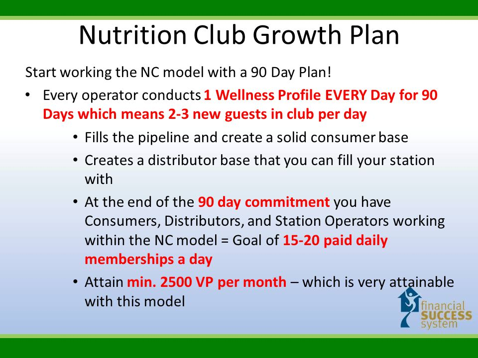 Start working the NC model with a 90 Day Plan! Every operator conducts 1 Wellness Profile EVERY Day for 90 Days which means 2-3 new guests in club per
