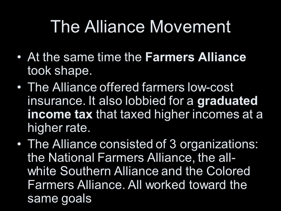 African American Farmers Despite common goals the Southern and Colored Farmers' Alliances remained segregated institutions.