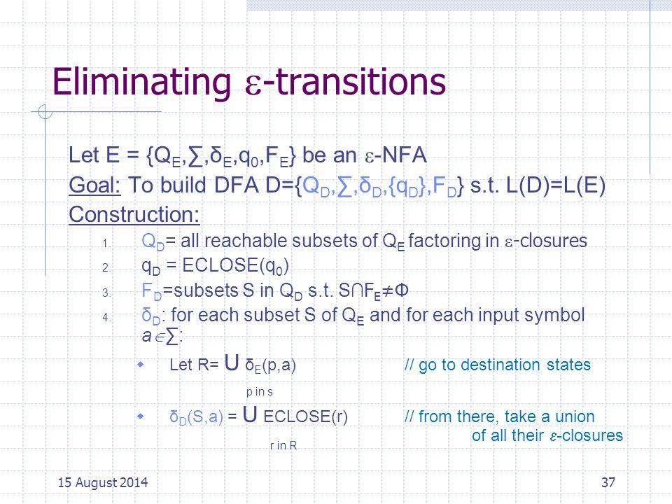 Eliminating  -transitions Let E = {Q E,∑,δ E,q 0,F E } be an  -NFA Goal: To build DFA D={Q D,∑,δ D,{q D },F D } s.t.