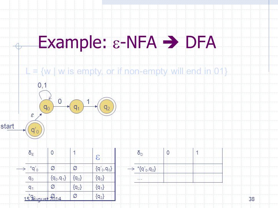 Example:  -NFA  DFA 38 L = {w | w is empty, or if non-empty will end in 01} start q0q0 q1q1 0 0,1 1 q2q2 q' 0  δEδE 01  *q' 0 ØØ{q' 0,q 0 } q0q0 {q 0,q 1 }{q 0 } q1q1 Ø{q 2 }{q 1 } *q 2 ØØ{q 2 } δDδD 01 *{q' 0,q 0 } … 15 August 2014