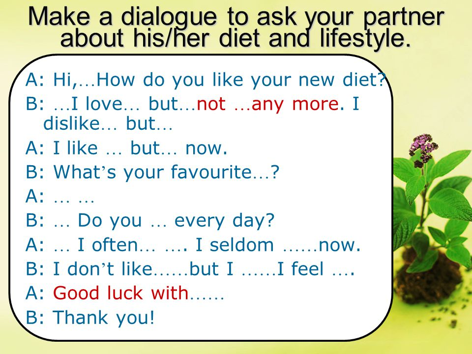 Make a dialogue to ask your partner about his/her diet and lifestyle. A: Hi, … How do you like your new diet? B: … I love … but … not … any more. I di