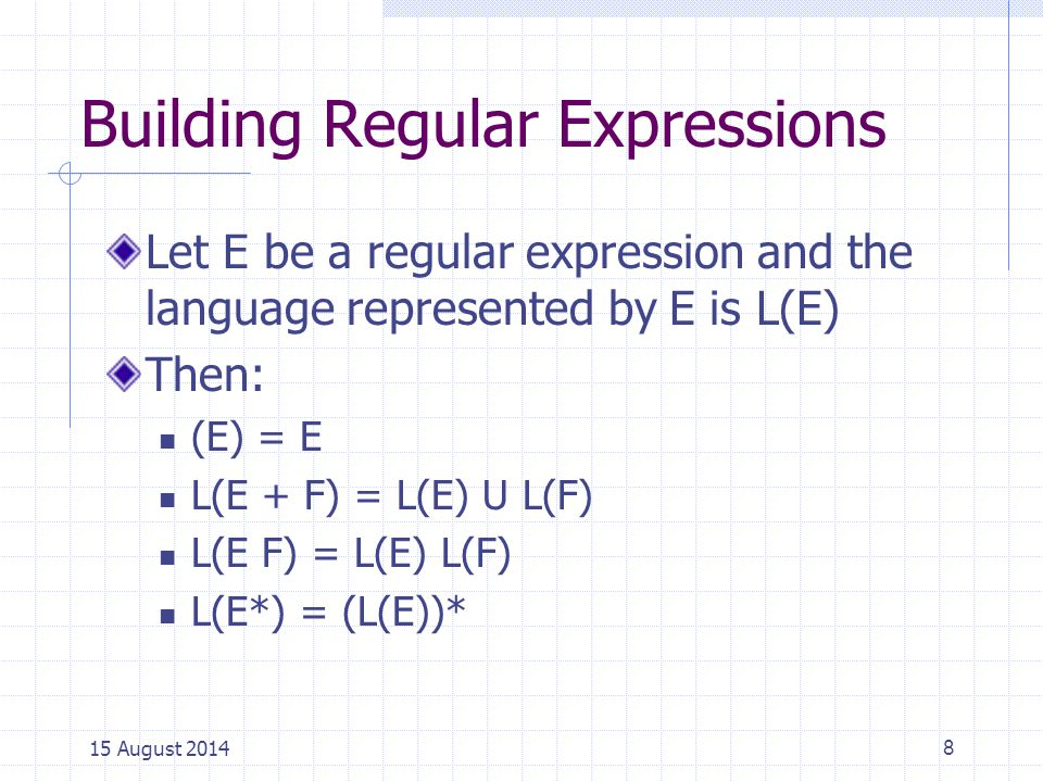 Example: how to use these regular expression properties and language operators.