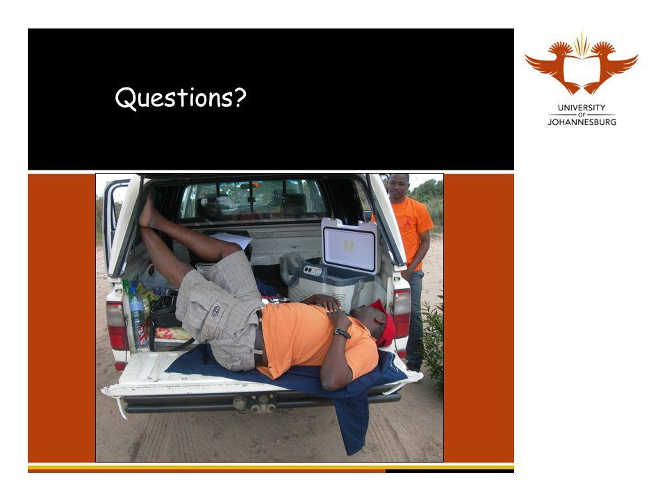 Questions? jamesrobinson77@gmail.com 011 559 1901