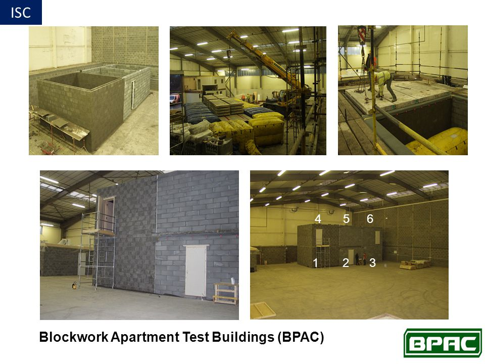 Blockwork Apartment Test Buildings (BPAC) 4 5 6 1 2 3 ISC