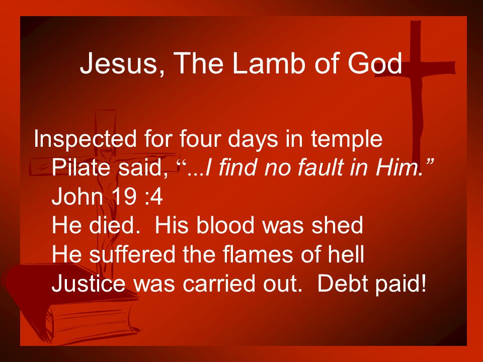 """Jesus, The Lamb of God Inspected for four days in temple Pilate said, """"... I find no fault in Him."""" John 19 :4 He died. His blood was shed He suffered"""