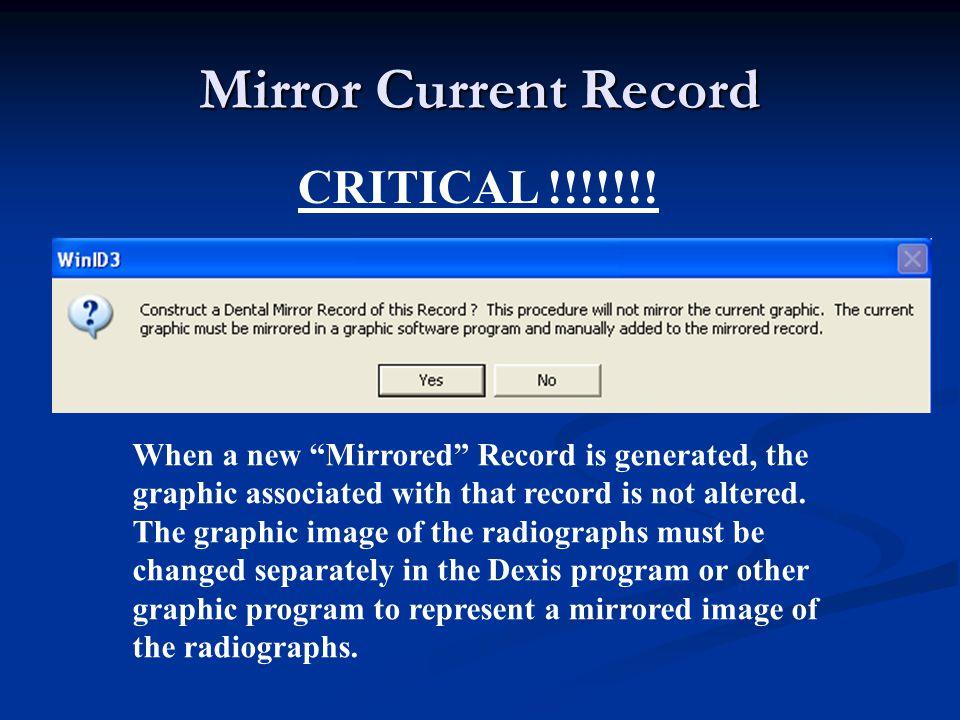 Mirror Current Record CRITICAL !!!!!!.