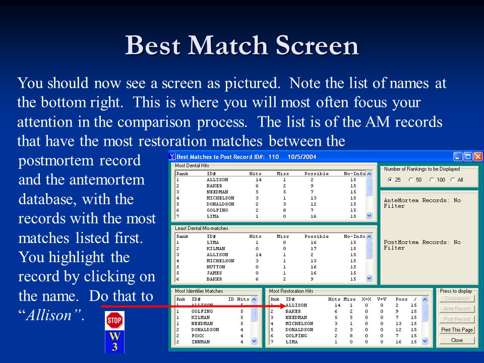 Best Match Screen You should now see a screen as pictured.