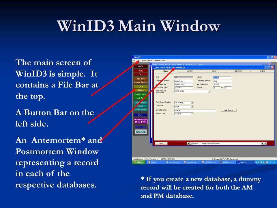 WinID3 Main Window The main screen of WinID3 is simple.