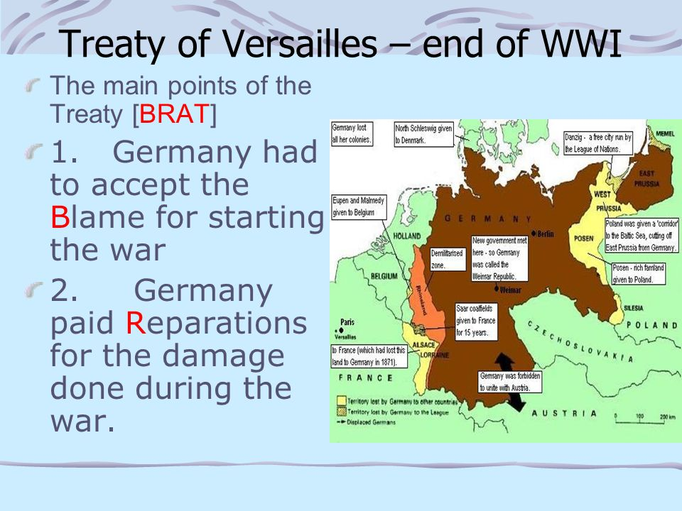 Versailles cont..3. Germany was forbidden to have submarines or an air force.