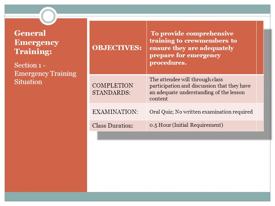 General Emergency Training: Section 1 - Emergency Training Situation