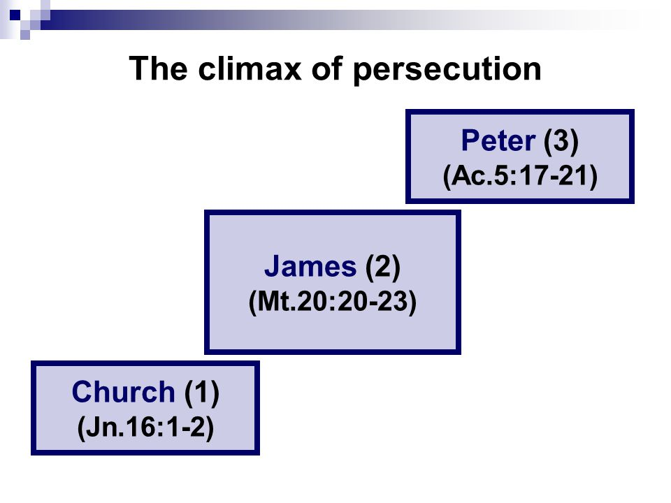The climax of persecution Church (1) (Jn.16:1-2) James (2) (Mt.20:20-23) Peter (3) (Ac.5:17-21)