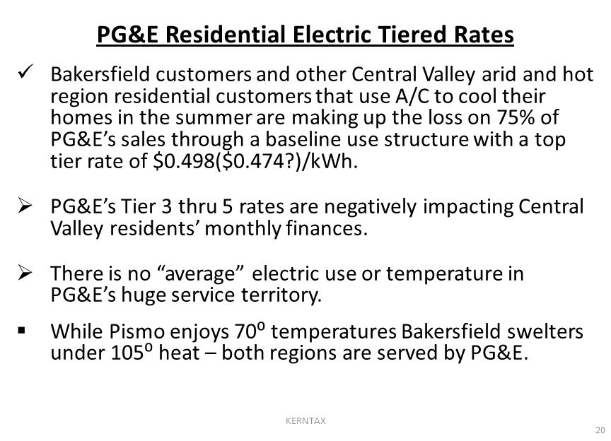 Bakersfield customers and other Central Valley arid and hot region residential customers that use A/C to cool their homes in the summer are making up the loss on 75% of PG&E's sales through a baseline use structure with a top tier rate of $0.498($0.474 )/kWh.