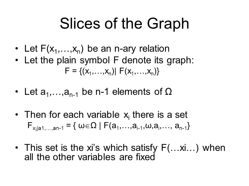 The Matrix of Slices Every n-ary relation defines n set-valued functions on n-1 variables: F x i (v 1,…,v n-1 ) = { ω  Ω | F(v 1,…,v i-1,ω,v i,…,v n-1) } The n-tuple of these functions is called the matrix of slices of the relation F