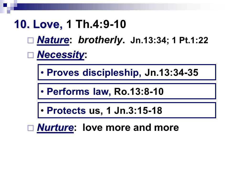 10. Love, 10. Love, 1 Th.4:9-10  Nature  Nature: brotherly.