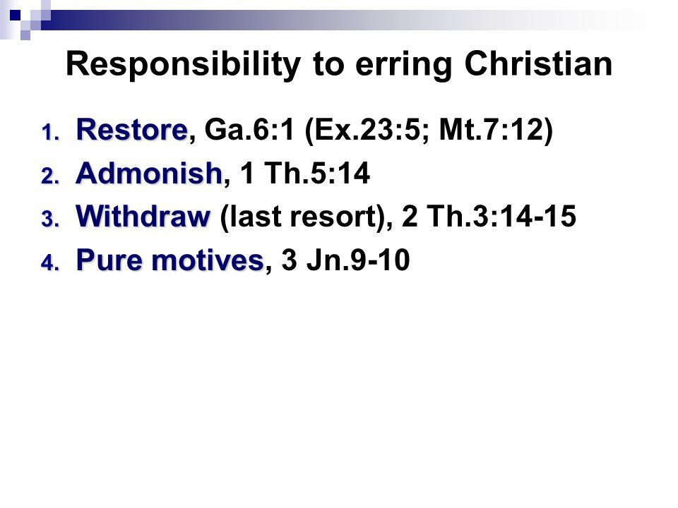 Responsibility to erring Christian 1. Restore 1. Restore, Ga.6:1 (Ex.23:5; Mt.7:12) 2. Admonish 2. Admonish, 1 Th.5:14 3. Withdraw 3. Withdraw (last r