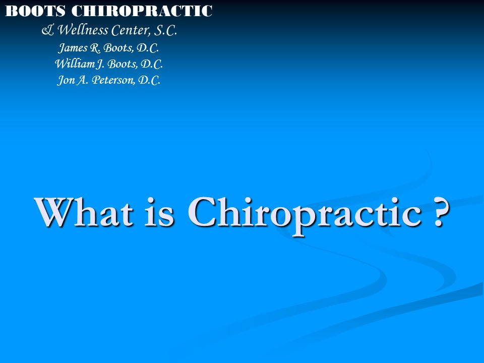 Chiropractic is an art, science and philosophy of maintaining health in the body.