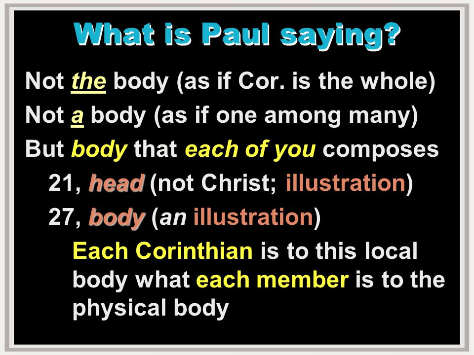What is Paul saying. Not the body (as if Cor.