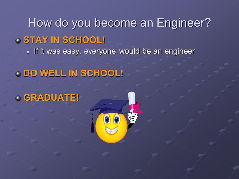 STAY IN SCHOOL! If it was easy, everyone would be an engineer If it was easy, everyone would be an engineer DO WELL IN SCHOOL! GRADUATE!