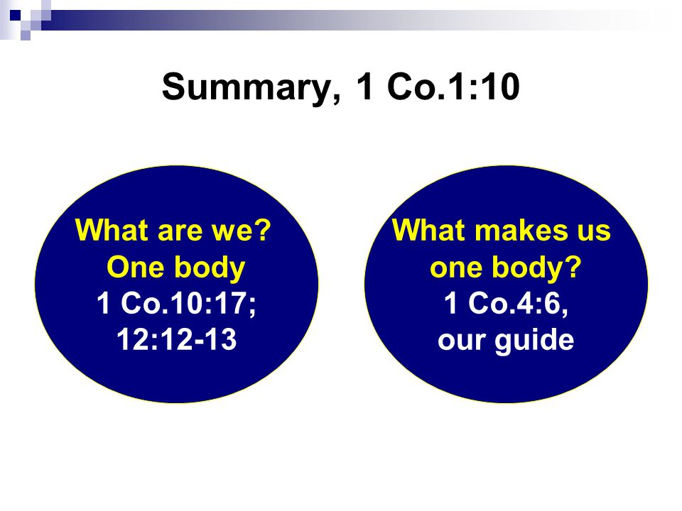 Summary, 1 Co.1:10 What makes us one body. 1 Co.4:6, our guide What are we.