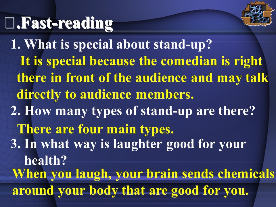 It is special because the comedian is right there in front of the audience and may talk directly to audience members.