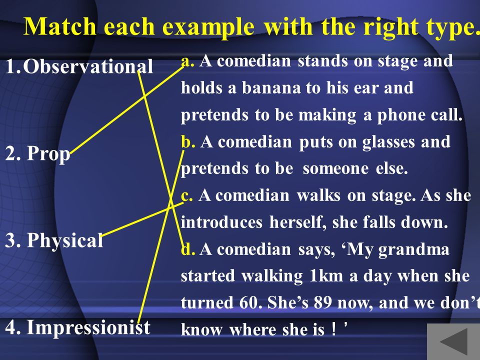 Structure of the article Stand-up for your health Types of stand-up A famous comedian Laughter is good for health.