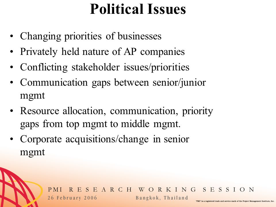 Global PM Issues Multi-cultural project teams Communication issues when not face-to-face Reticence to challenge scope creep Lack of local knowledge of how to get project completed in region Face-to-face communication is quick/not detailed despite fact that oral communication important in AP Comprehension issues Lack of trust Political instability of relations between countries of team members Level of involvement of government authorities in project Ethics of local society (e.g., Bribery) Lack of common PM jargon Lack of standards for PM across regions Large diversity of cultures in AP region (hundreds of languages) Too many assumptions between cultures (can't assume things are same from culture-to-culture) Religion and business conflicts (when they collide) AP concept that only a foreigner (white face/consultant) knows answers