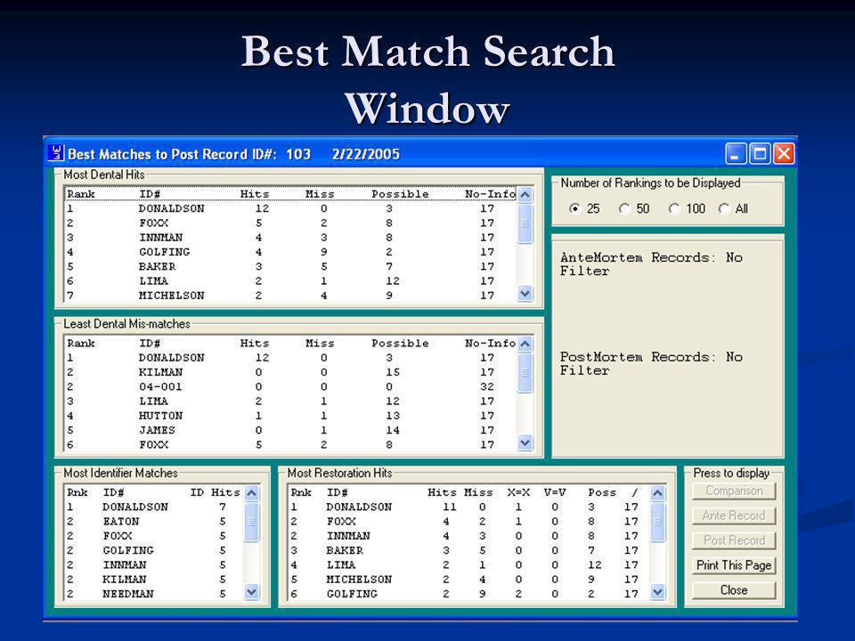 Best Match Search Window
