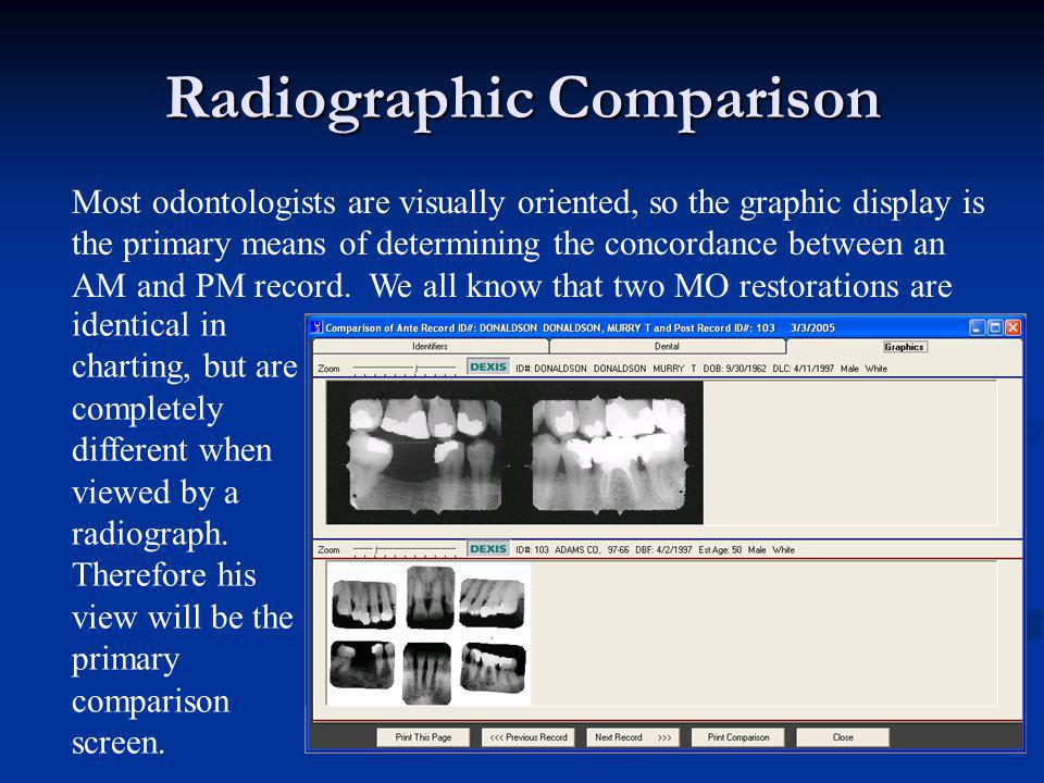 Radiographic Comparison Most odontologists are visually oriented, so the graphic display is the primary means of determining the concordance between a