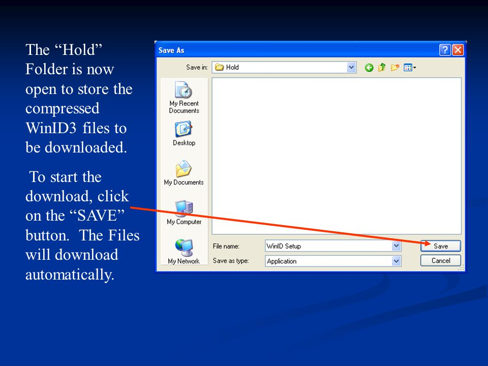 The Hold Folder is now open to store the compressed WinID3 files to be downloaded.