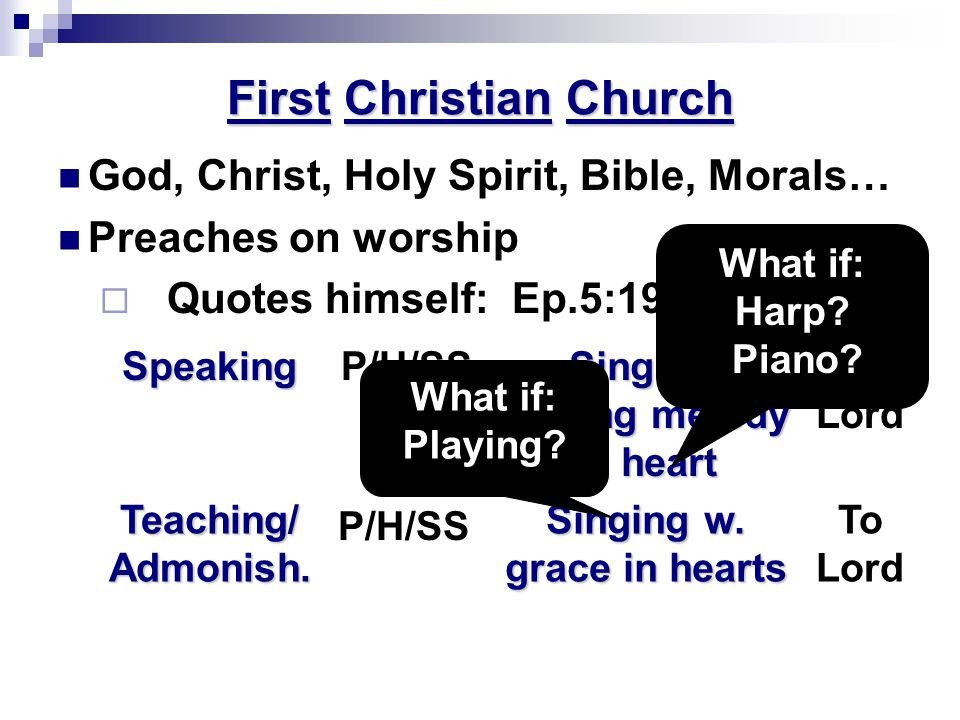 First Christian Church God, Christ, Holy Spirit, Bible, Morals… Preaches on worship  Quotes himself: Ep.5:19; Col.3:16 To Lord Singing w.