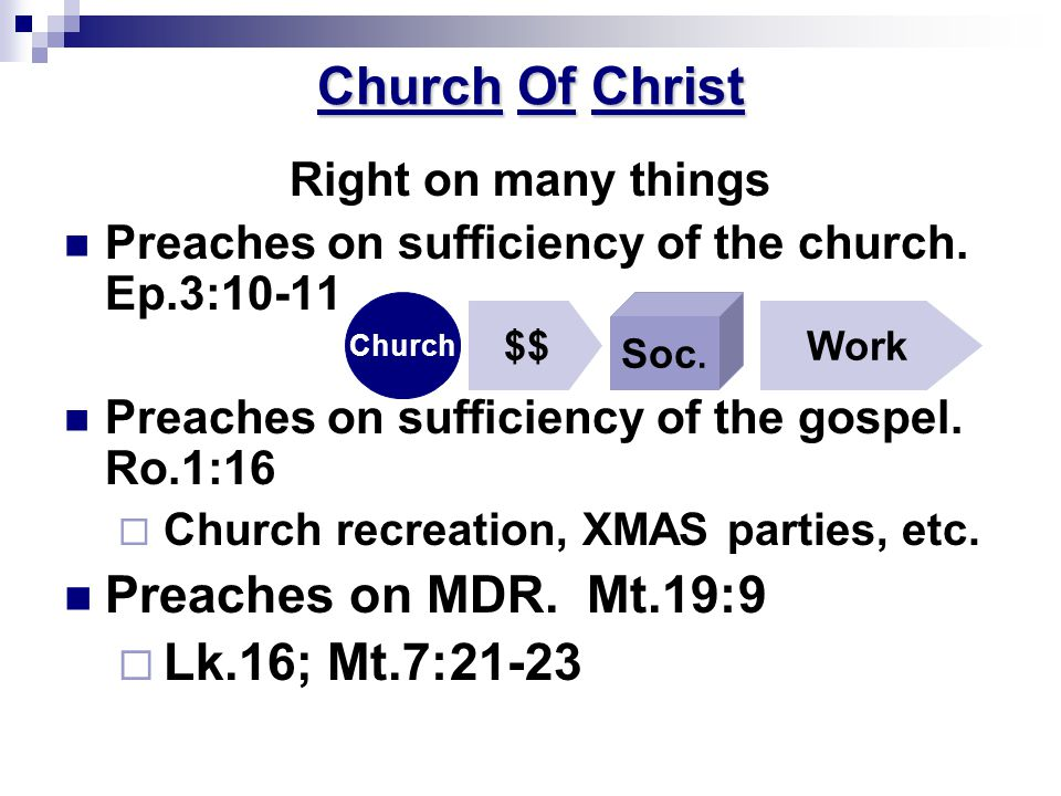 Church Of Christ Right on many things Preaches on sufficiency of the church.