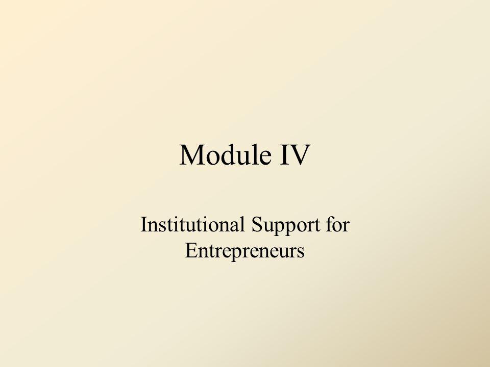 Module IV Institutional Support for Entrepreneurs
