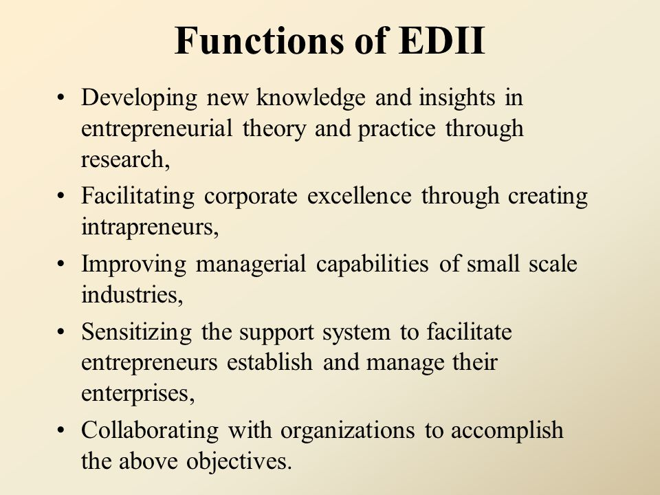 Functions of EDII Developing new knowledge and insights in entrepreneurial theory and practice through research, Facilitating corporate excellence thr