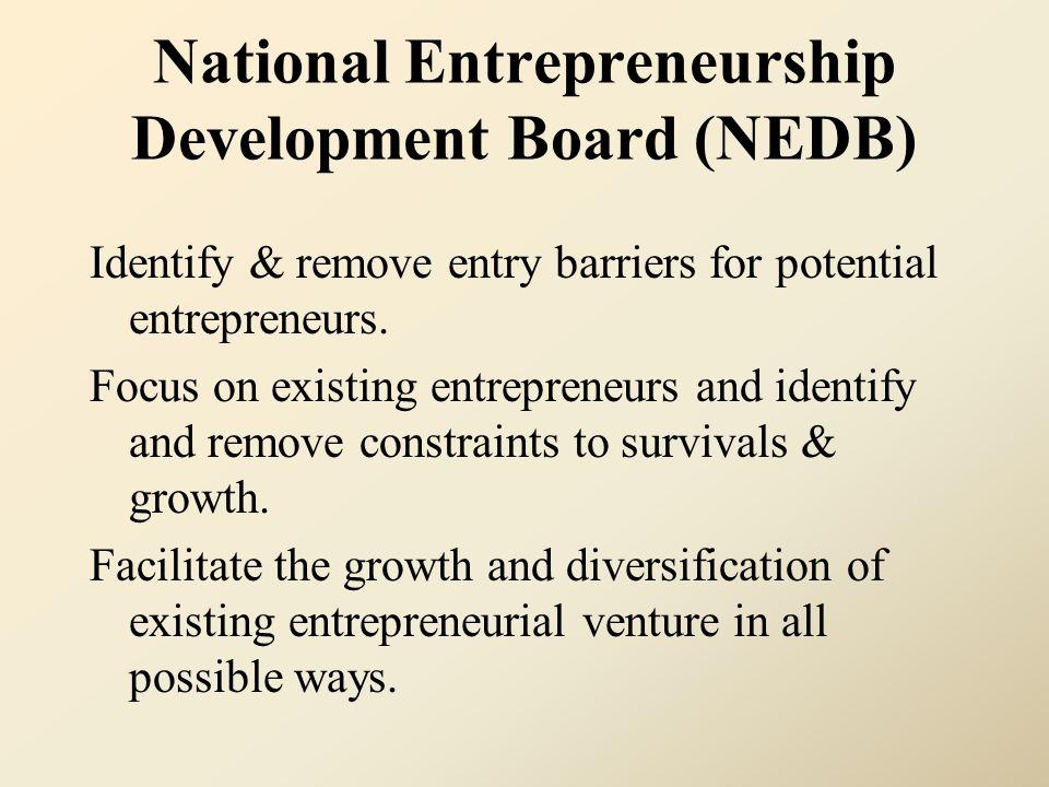 National Entrepreneurship Development Board (NEDB) Identify & remove entry barriers for potential entrepreneurs. Focus on existing entrepreneurs and i