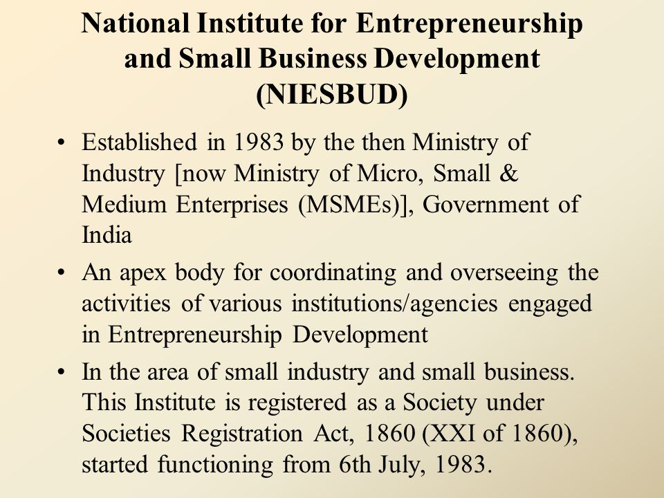 National Institute for Entrepreneurship and Small Business Development (NIESBUD) Established in 1983 by the then Ministry of Industry [now Ministry of