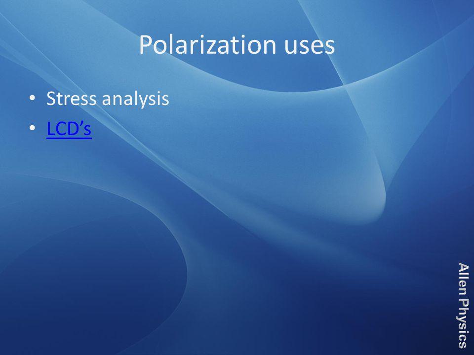 Polarization uses Stress analysis LCD's