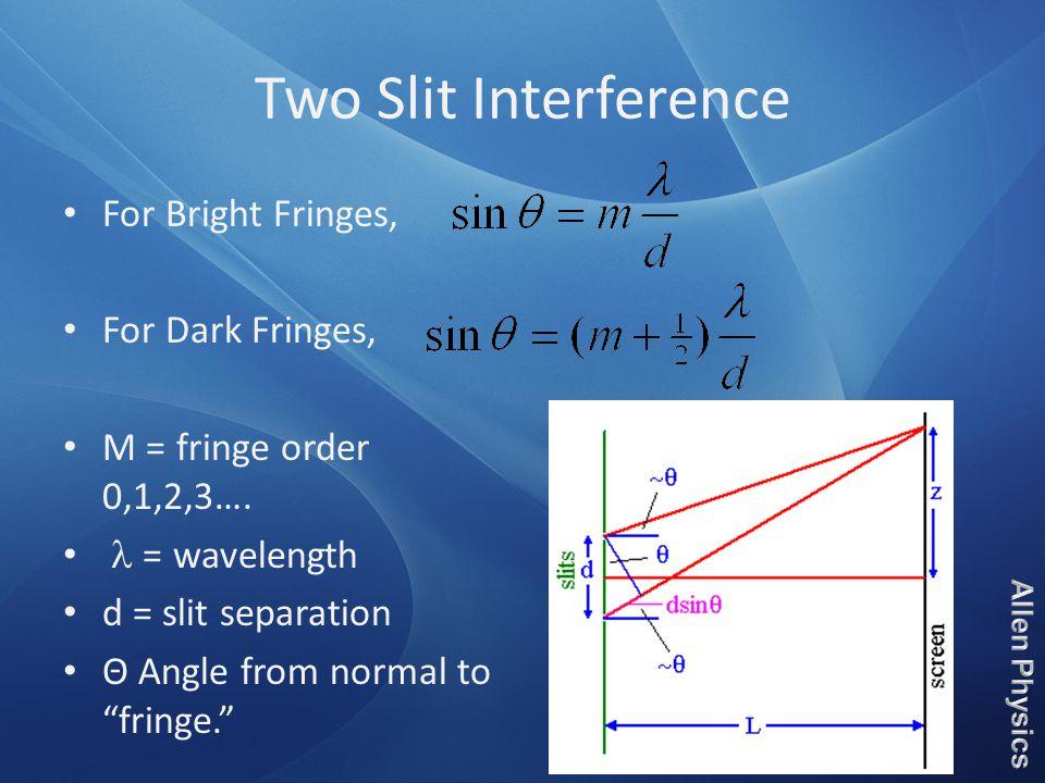 "Two Slit Interference For Bright Fringes, For Dark Fringes, M = fringe order 0,1,2,3…. = wavelength d = slit separation Θ Angle from normal to ""fringe"
