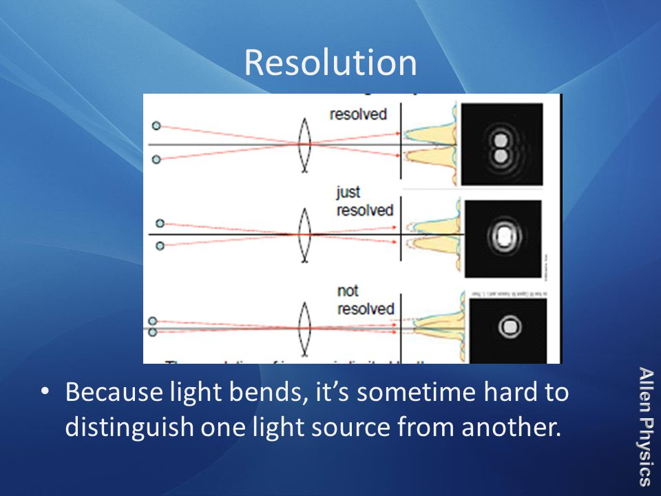 Resolution Because light bends, it's sometime hard to distinguish one light source from another.